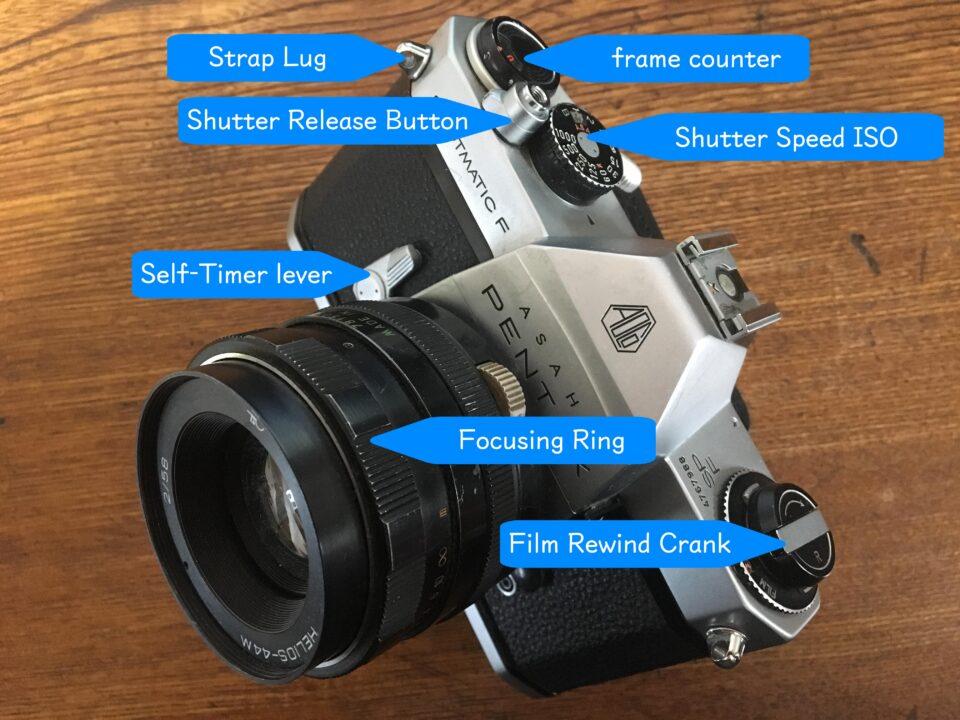 カメラの各パーツ上部 英語で説明その1