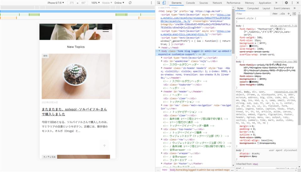 ブログをデベロッパーツールで表示したところ