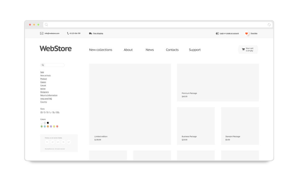 Blank white web store template mock up isolated